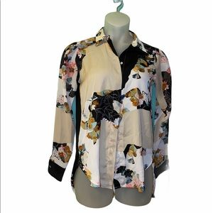 Phillip Lim 3.1 Target Floral Button Down Blouse Long Sleeve Top Small